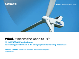 Wind energy development in the emerging markets