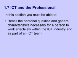 1.7 ICT and the Professional - Computing and ICT in a Nutshell
