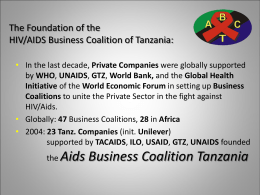 HIV/Aids Business Coalition Tanzania GFATM Round 8
