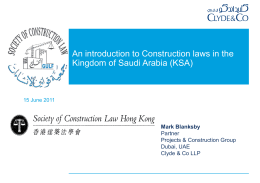 An introduction to Construction laws in the Kingdom of Saudi Arabia