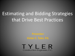 Bid Estimating Strategies
