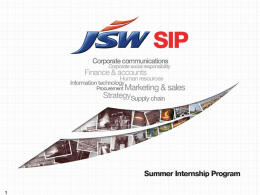 JSW SIP Information Session 2014