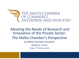 Meeting the needs of Research and Innovation of the Private Sector