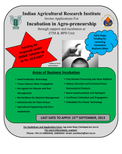 Incubation in Agro-preneurship - Indian Agricultural Research Institute
