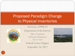 Proposed Paradigm Change to Physical Inventories