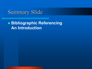 Bibliographic Referencing - UWI St. Augustine