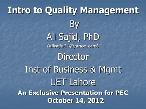 INTRODUCTION TO QUALITY - Pakistan Engineering Council