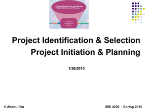 Systems Planning: Identification & Selection