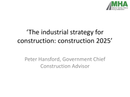 The industrial strategy for construction: construction 2025