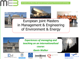 Management and Engineering of Environment & Energy