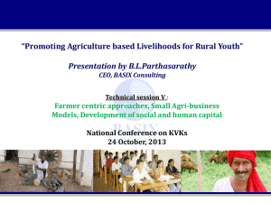 Promoting Agriculture Based Livelihoods for Rural Youth