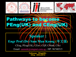 Pathway to PEng(UK) - SIET International