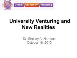 slides on University Venturing and New Realities