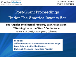 What`s New? Post Grant Proceedings