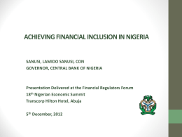 achieving financial inclusion in nigeria