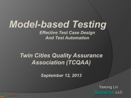 Model-Based Testing - Twin Cities Quality Assurance Association