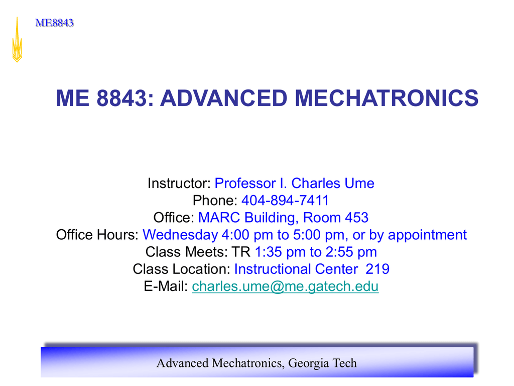 Advanced Mechatronics Georgia Institute Of Technology