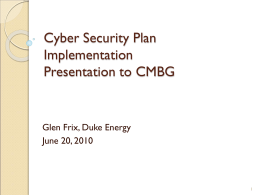 Cyber Security Plan Implementation Presentation to RES BEST