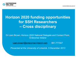 Horizon 2020 funding opportunities for SSH Researchers Presentation