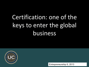 week 1 Certification for Global business
