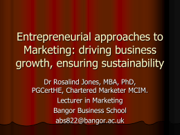 Entrepreneurial Approaches to Marketing
