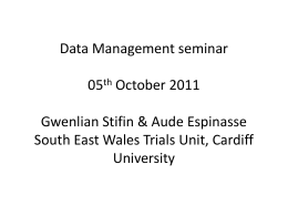Data Management - Cardiff University