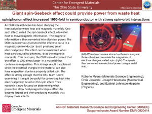Giant spin Seebeck effect in a non-magneticmaterial