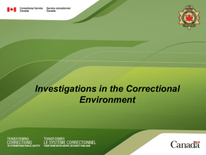 Investigations in the Correctional Environment