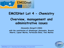 EMODNet Lot 4 - Chemistry Overview, management and