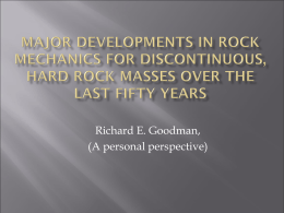 Major developments in rock mechanics for discontinuous hard rock