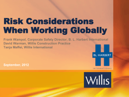 Risk Considerations When Working Globally - Frank Wampol