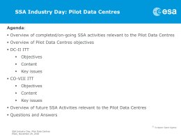 SSA Industry Day: Pilot Data Centres - Emits