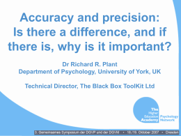 Presentation about accuracy and precision