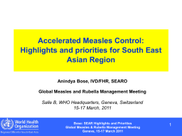 Highlights and priorities - Measles & Rubella Initiative