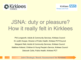 Joint Strategic Needs Assessment for Kirklees