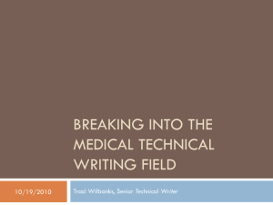 Breaking into the medical technical writing field