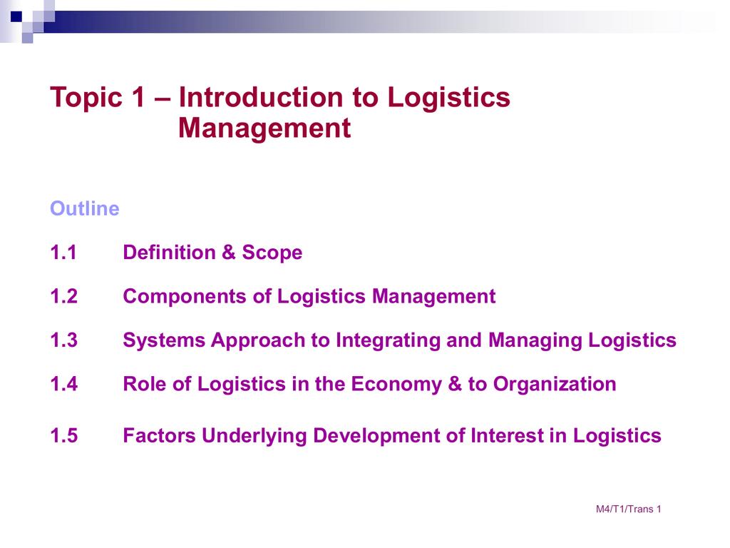 1.2 components of logistics management