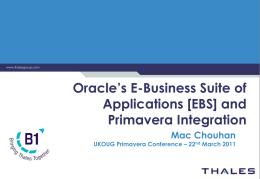 Primavera - UK Oracle User Group