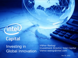 Presentation Vibhor Rastogi: Investing in Global Innovation
