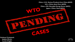 WTO Pending Cases - International Trade Relations