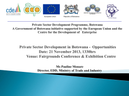 edd strategy - Global Expo Botswana