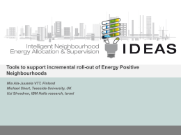 Tools to support incremental roll-out of Energy Positive