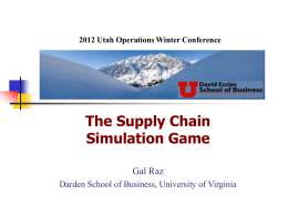 The Supply Chain Simulation Game