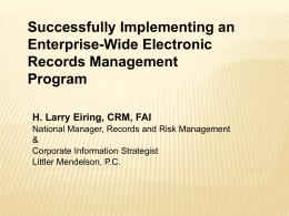 Successfully Implementing an Enterprise