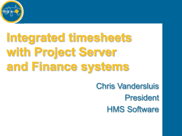 Timesheets and Project Server