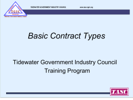 Basic Contract Types - Tidewater Association of Service Contractors