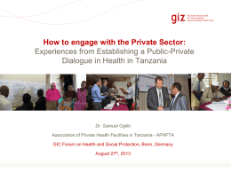 How to engage with the Private Sector