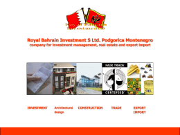 Royal Bahrain Investment S Ltd. Podgorica Montenegro company