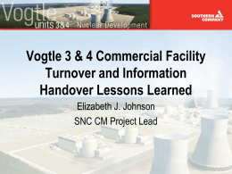 Vogtle 3&4 Commercial Facility Turnover & Information Handover