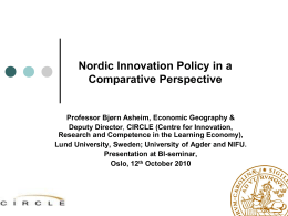 Innovation policy and Global High Tech sectors - a challenge -